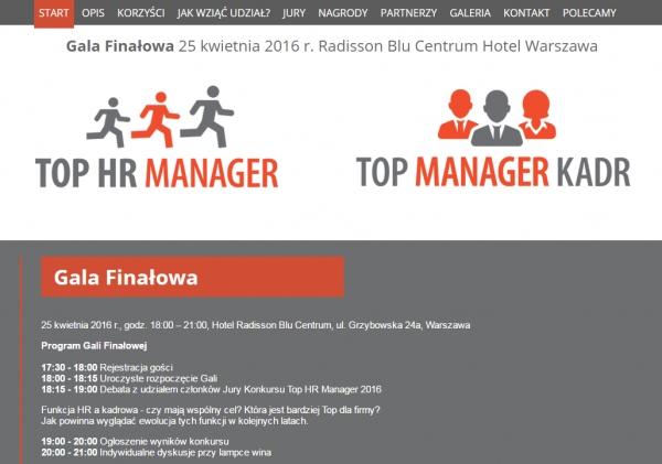 ZNAMY WYNIKI KONKURSU TOP HR MANAGER 2016